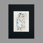 Signed drawing in ink de Catulle Claude : L'habilleuse
