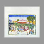 Bois gravé signé de Tytgat Edgard : Le carrousel