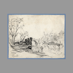 Signed drawing de Will Frank : Paris, embankments