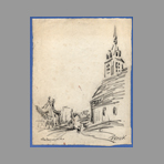 Original signed drawing de Will Frank : Ch�teaurenard, the church