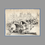 Original signed drawing de Will Frank : Paris, Pont Neuf II