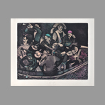 Original signed etching de Wright Frank : Ship of fools