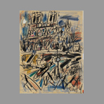 Signed drawing in pastel de Paul Gen : Notre Dame de Paris
