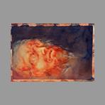 Aquarelle originale signée de Vilage Gérard : Portrait d'homme couché