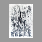 Original signed drawing de Ajmone Giuseppe : Landscape