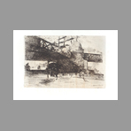 Original etching de De Nittis Giuseppe : View of London under a railroad bridge