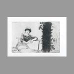 Original etching de De Nittis Giuseppe : Study in my garden