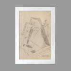 Original signed drawing de Lipchitz Jacques : Cubist drawing