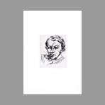 Original drypoint de Meidner Ludwig : Man's head - Dr Praucher-Schmidke