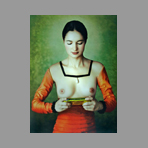 Signed photograph de Vargas Mariano : Young woman playing