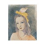 Original lithograph de  : Jeune fille au chapeau