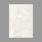 Dessin original signé de Thompson Michel : Femme debout