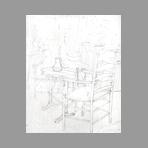 Dessin au crayon original de Thompson Michel : Intérieur