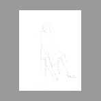 Dessin au crayon original de Thompson Michel : Femme assise I
