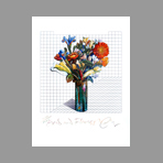 Original signed lithograph de Glaser Milton : Grid and flowers