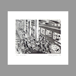 Original signed etching de Red Grooms : Underground Platforms
