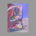 Gouache originale signée de Cogorno Santiago : Femme agenouillée