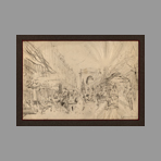 Original signed drawing de Steinlen TA : Porte Saint-Denis, Paris