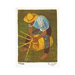 Lithographie originale signée de  : Le vannier