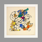 Signed single work de Nespolo Ugo : Untitled II