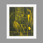 Original signed monotype de Miroglio Valerio : Composition on yellow bottom