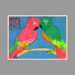 Signed single work de Ting Walasse : Parrots on blue bottom