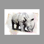 Original signed screenprint de Spatafora Xavier : Rhinoceros