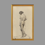 Signed drawing in ink de Andr� Albert : Nude with bun