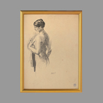 Original drawing in ink de Andr� Albert : Nude
