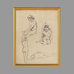 Signed drawing in ink de Andr� Albert : Nude, study of young woman