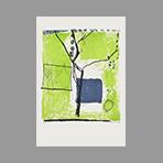 Lithographie originale signée de Kimura Chuta : L'arbre et le jardin