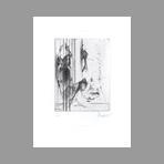 Original signed drypoint de Dado : Kafka, le terrier plate VII