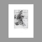 Original signed drypoint de Dado : Kafka, le terrier plate V