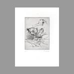 Original signed drypoint de Dado : Kafka, le terrier plate II