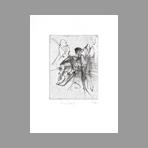Original signed drypoint de Dado : Kafka, le terrier plate I