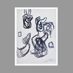 Original signed drawing de Phillips Helen : Study of forms III
