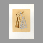 Signed etching aquatint de Jean Marcel : Kneeling woman