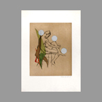Signed etching aquatint de Jean Marcel : A naked man sitting