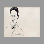 Original signed drawing de Red Grooms : Jean Cocteau's portrait