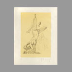 Original signed etching de Oldenburg Claes : Woman Hanging in Imitation of the Soft (A)