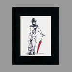 Signed drawing in ink de Catulle Claude : Fille au parapluie rouge
