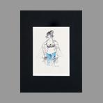 Signed drawing in ink de Catulle Claude : Fille en jeans