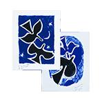 Original signed screenprints de  : Oiseaux bleus, Oiseaux noirs
