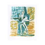 Signierte Originallithographie de  : Couple de danseurs