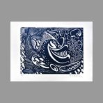 Original signed woodcut de Di Rosa Herv� : Poisson s�tois, monochrome