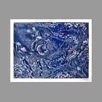 Original signed woodcut de Di Rosa Hervé : En traversant le pont, blue