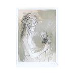 Original signed lithograph de  : Woman with bouquet