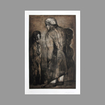 Original signed etching de Cuevas Jose Luis : Two characters, unknown title III