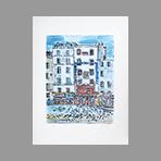 Original signed lithograph de Tamburi Orfeo : Rue des petits champs