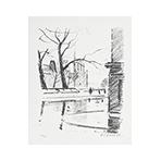 Signierte Originallithographie de  : Quai de Seine